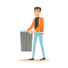 Smiling man arrying garbage bin, waste recycling and utilization concept vector Illustration
