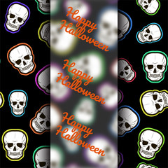 Template for flyers, postcards, flyers for Halloween. Seamless pattern with skulls on a black background. Vector illustration.