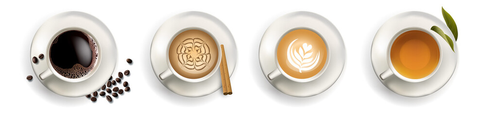 Coffee, cappuccino, Espresso, Tea, top view in vector format