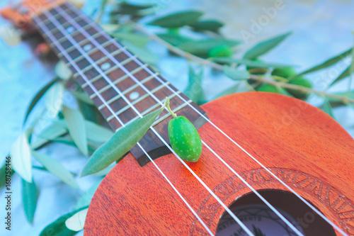 Olive brunches and ukulele, Greek music concept close up