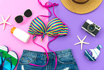 Summer Fashion woman swimsuit Bikini. Tropical sea.Unusual top view, colorful background.  Summer Concept.