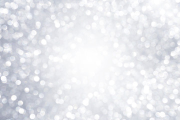 Abstract silver light bokeh background, festive season concept background