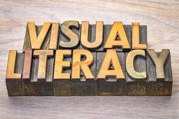 visual literacy word abstract in woodtype