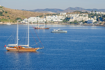 View of the white city of  Bodrum from the sea