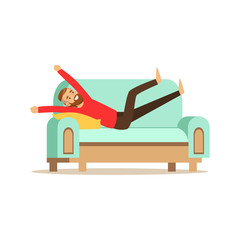 Young smiling bearded man lying on a ligh blue sofa and resting at home vector Illustration
