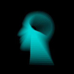 Human head gradient shape. Vector. Concept of artificial intelligence, AI