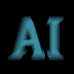 AI text gradient shape. Vector. Concept of artificial intelligence, AI