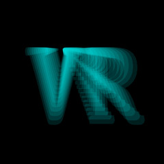 Virtual reality text gradient shape. Vector
