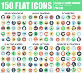 Flat web icons pack