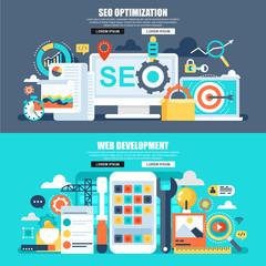 Flat concept web banner of seo, app and web development
