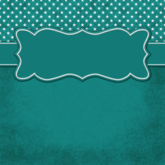 Green and white stars square border with copy space