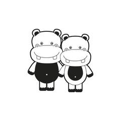 sketch silhouette monochrome caricature couple cute animal hippopotamus vector illustration