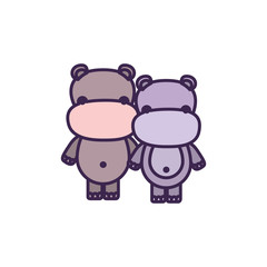 white background with light color faceless caricature couple cute animal hippopotamus vector illustration