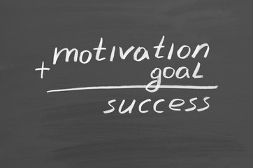 Goal motivation success. Text on chalkboard