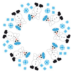 Falling snowman with snowflakes in ring on white  background
