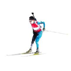 Biathlon skier, abstract vector geometric silhouette