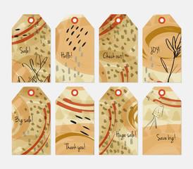 Floral seasonal with sketched dandelion brown tag set