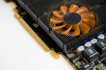 The graphics card on white background