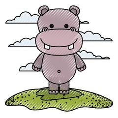 color crayon silhouette scene caricature hippopotamus animal in grass