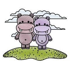 color crayon silhouette scene couple caricature hippopotamus animals in grass