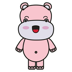 colorful kawaii caricature cute happiness expression of hippopotamus animal