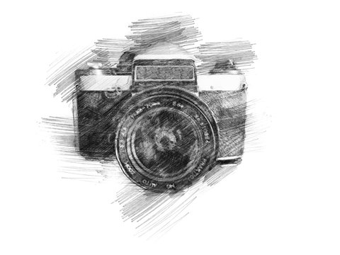 hand drawn photo camera