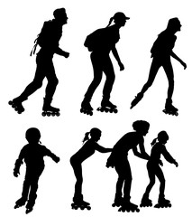 Roller skating people in park, rollerblading vector silhouette isolated on white background. In-line skating. Skater boy and girl riding wheels.