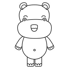 sketch silhouette of kawaii caricature cute happiness expression of hippopotamus animal