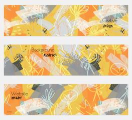 Roughly drawn dandelion yellow gray banner set