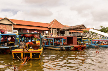 Tonle Sap (Great lake)and a floating village Chong Knies in Cambodia