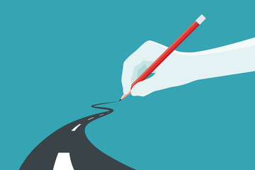 Hand holding pencil. Concept of the path to business success at choose your own. Vector illustration. Fotomurales