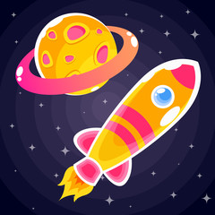 An orange rocket sticker with pink stripes and blue portholes that flies past an orange planet with a pink ring and craters