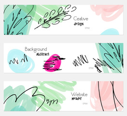 Sketched bird and trees pink green banner set