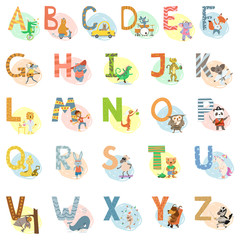 Cartoon vector hand drawn animals English language alphabet letters