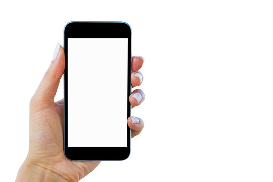 Beautiful woman's hand using smartphone. Smartphone white screen. Blank empty screen. empty space for text. isolated on white background