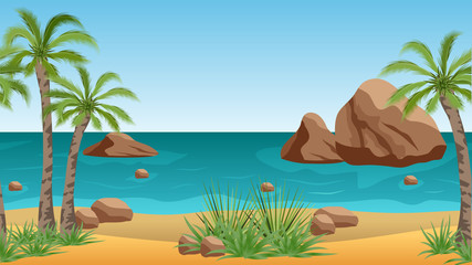 Palm beach vector landscape  background