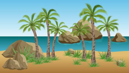 Palm beach vector landscape  background