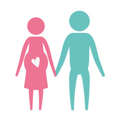 color silhouette pictogram woman pregnancy and man holding hands