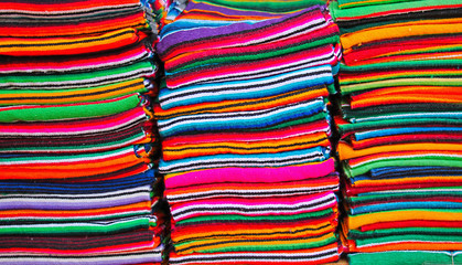 Colorful Mexican blankets and Serapes