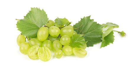 Bunch of green wine grapes isolated white background. Healthy fruits.