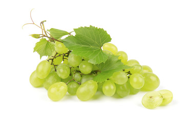 Green grape with leaves isolated on white background