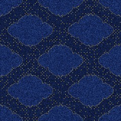 Seamless texture blue denim with printed gold frame vignette and polka dots.