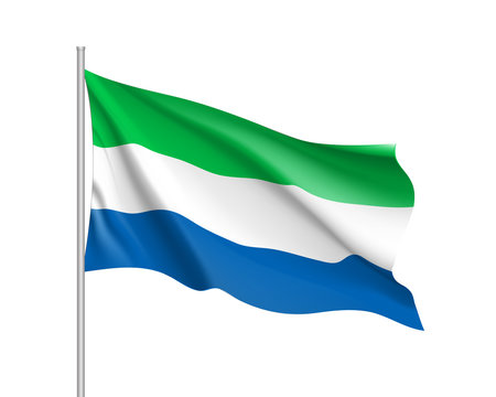 Sierra Leone flag. Illustration of African country waving flag on flagpole. Vector 3d icon isolated on white background. Realistic illustration