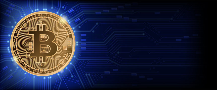 Horizontal web banner  with golden bitcoin and dark blue background with microchip and place for your text. Stock vector illustration.