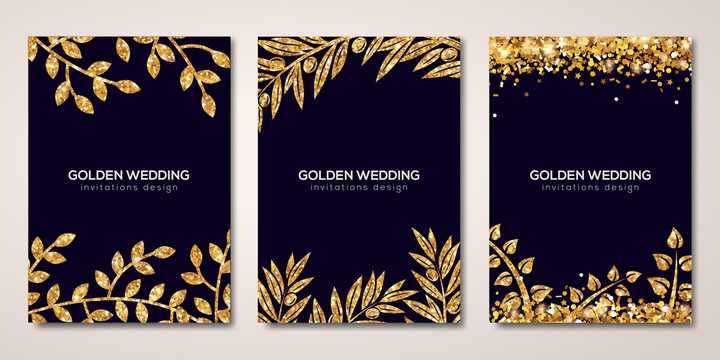 Banners set with gold floral patterns on black