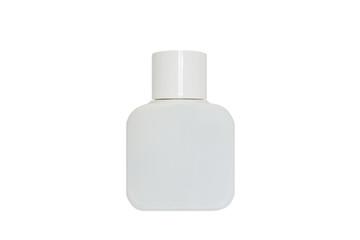 White Bottle of perfume isolated on a white background.