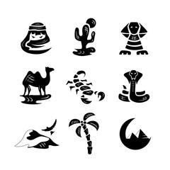 Desert Illustrations icons silhouettes