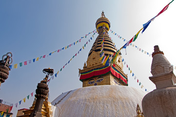 Swayambhunath Temple in Kathmandu, its an ancient religious architecture atop a hill in the Kathmandu Valley, west of Kathmandu city.