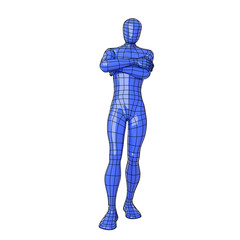 Wireframe human figure expecting for something with crossed arms
