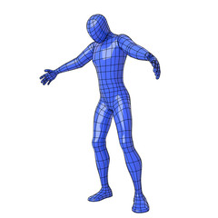 Wireframe human figure with open arms and looking down as if he were to embrace something or somebody